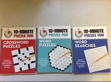 New Lot Of 3 - 10 Minute Puzzle Fun Books Word Searches Word & Crossword Puzzles