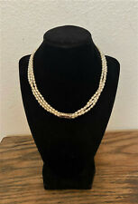 """Vintage Estate Sterling Silver & Seed Pearl Choker Necklace - 19"""""""