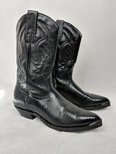 Boulet Black Leather Western Cowboy Mid Calf Boots Womens Size 7 Canada Made