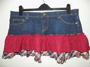Y2K DENIM MINI SKIRT WITH FRILL SIZE UK 16 EXCELLENT CONDITION