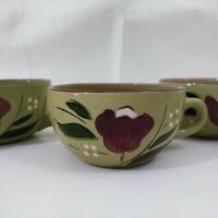 Set Of 6 Stangl Pottery Coffee Cups MAGNOLIA Hand Painted Made In USA Vintage