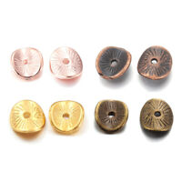 100 Tibetan Alloy Dome Flat Disc Metal Beads Carved Wavy Tiny Loose Spacers 9mm
