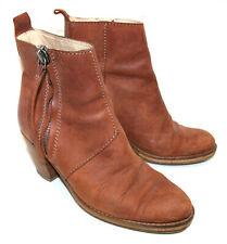 ACNE STUDIOS Pistol Leather Zip Ankle Boots Tan Brown Size: UK4.5 EU37 RRP: £380