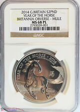 GREAT BRITAIN 2014 SILVER 2 POUNDS. YEAR OF THE HORSE MULE. NGC-MS68PL. RARE.