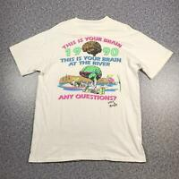 Vintage 1990 LIFE'S A RIVER Mens T Shirt Large | Single Stitch HANES