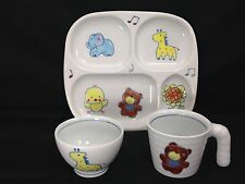 Children's 3 pc. Porcelain Plate Cup Bowl Set GIRAFFE BEAR ELEPHANT Musical Note