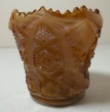 Imperial Slag Glass Toothpick Holder Caramel Scalloped Sawtooth Rim
