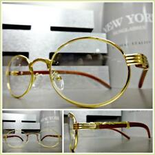 CLASSY SOPHISTICATED Clear Lens EYE GLASSES Small Oval Gold & Wood Wooden Frame