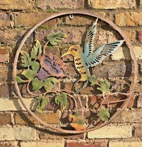 Humming Bird Wall Art Garden Ornament Flower Metal Gift Present Quirky