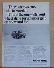 1972 magazine ad for Saab - front wheel drive for ice & snow, Saab 99E