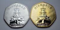 Pair of German Battleship BISMARCK Silver & 24ct Gold Commemoratives. WW2 Navy