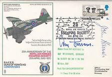 SC28a RAF Escaping Society Signed  Evaders W J Brazill John Harrison Adolf Galla