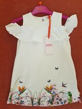 Ted Baker - 'Girls' white floral print cold shoulder dress. 2-3 Years.