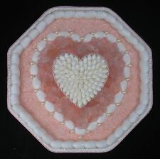 "Seashell Art SAILORS VALENTINE 8"" Octagon Shell Mosaic - Pink Jeweled Heart"