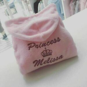 💕 0 6 12 18 24 2 3 4 5 6 PERSONALISED pink dressing gown robe crown princess