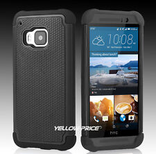 For HTC One M9 Case Rubber Hybrid Armor Slim Hard Rugged Matte Cover REAL Glass