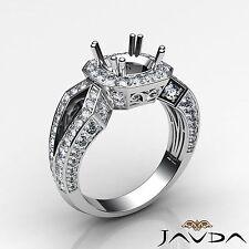 Semi Mount Platinum 1.45Ct Round Diamond Engagement Filigree Halo Pave Set Ring