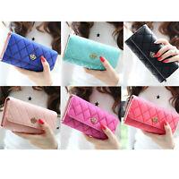 Lady Women Thin Purse Long Clutch Wallet Crown PU Card Holder Handbag For Gift