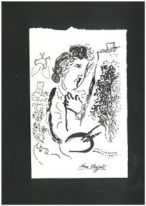 Original vintage rare ink on card !hand signed MARC CHAGALL