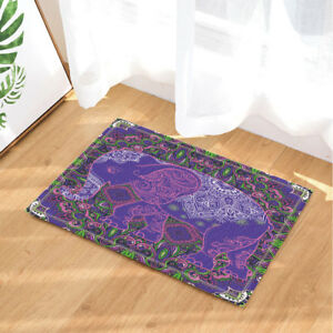 Old Purple India Elephant Decor Non-Slip Outdoor Indoor Front Door Mat bathroom