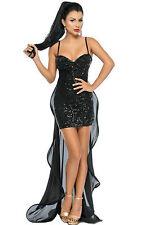 Abito ricamato tulle gonna top nudo coda scollo Sequins Embroidery Club Dress S