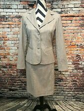 Women's Pendelton Beige/Taupe 2 Piece Career Skirt Suit, Size 4, Wool Blend