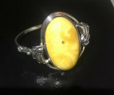 Antique Natural Butterscotch Egg York Baltic Amber Sterling Silver Bangle