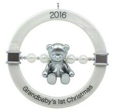 Hallmark Keepsake 2016 Grandbaby's First Christmas Teddy Bear Rattle Ornament
