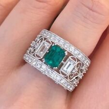 3.16 ct Colombian Emerald and Diamond Wide Band Ring in Platinum - HM1913ZE