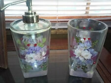 Plastic Glass & Soap Dispenser with purple & pink flowers for bathroom