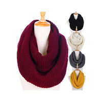 Women Warm Winter Infinity Circle Cable Knit Cowl Neck Thick Scarf Shawl Wrap US