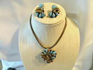 Vintage 1940's Turquoise& Gold Bead Pendant/Brooch Necklace & Earring Set~NICE
