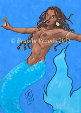 Water African Mermaid ACEO art print Brandy Woods fantasy fairy princess sexy
