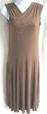 3 Dots Brown Draped & Ruched Front Fluid Jersey Dress Sz M Raw Edge Hem Mid-Calf