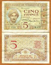 Madagascar, 5 Francs (1937), P-35, F
