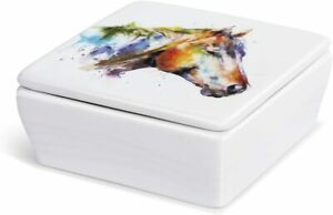 Dean Crouser Horse Multicolor Watercolor 4 x 4 Ceramic Stoneware Vanity Box