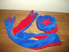 Boys Winter COZYOSKO Blue/Red Fleece HAT and SCARF SET. SIZE 0-8 months New!