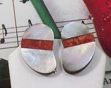 Buffalo Horn & Abalone Shell Clip - On Earrings. BHER004