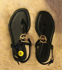COACH Women's Leather Slingback Gold Logo Flats/Sandals Size 5 Black New
