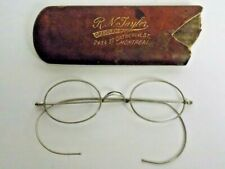 Antique Eye Glasses Spectacles R.N. Taylor Optician Original Hard Leather Case