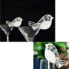 50pcs Bird Shape Wine Glass Place Table Mark Name Cards Wedding Decoration kh9