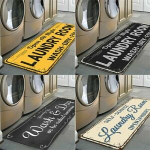 Non-Slip Floor Modern Flannel Area Rug Laundry Room Doormat Self-Service Carpet