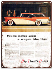 1957 Buick Centry Wagon Advertising Ad Baked Metal Repro Sign 9x12 60138