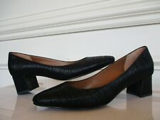 Aquatalia pumps heels shoes mid block heel textured black size 9 women's