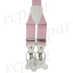 New Y back Men's Vesuvio Napoli Suspenders Braces clip on formal prom Pink
