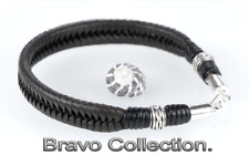 2B-009 HANDMADE Sterling Silver Kangaroo Leather Armband Wristband Men Bracelet.