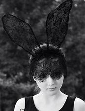 Bunny Ear Hairband Fashion Cute Lace Veil French Flower Headband Black