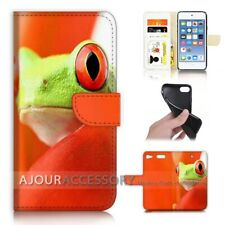 ( For iPod Touch 6 ) Wallet Flip Case Cover AJ40529 Frog