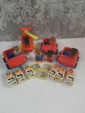 Vintage Playskool Square People Lot McDonalds Trays Cars Helicopter