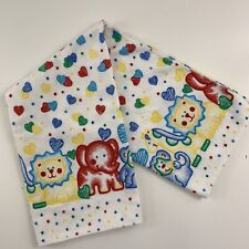 New listing Vtg Reigel Baby Receiving Blanket Flannel Primary Colors Zoo Animals Hearts